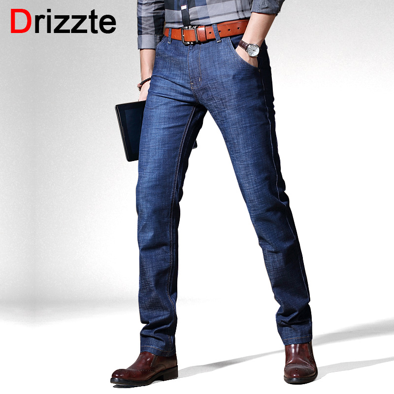 Drizzte Men's Jeans Stretch Blue Denim Business Stragiht Silm Fit Jeans Size 30 32 34 35 36 38 40 Pants Jean for Men drizzte men s jeans classic stretch blue denim business dress straight slim jeans size 34 35 36 38 pants trousers jean for men