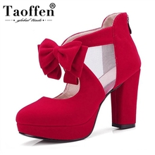 TAOFFEN Wholesale Large Size 33-43 Sweet Bow High Heels Spri