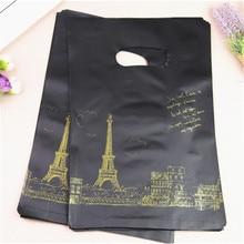 2017 New Style Wholesale 100pcs/lot 25*35cm Luxury Black European Eiffel Tower Gift Packaging Bags Medium Shopping Plastic