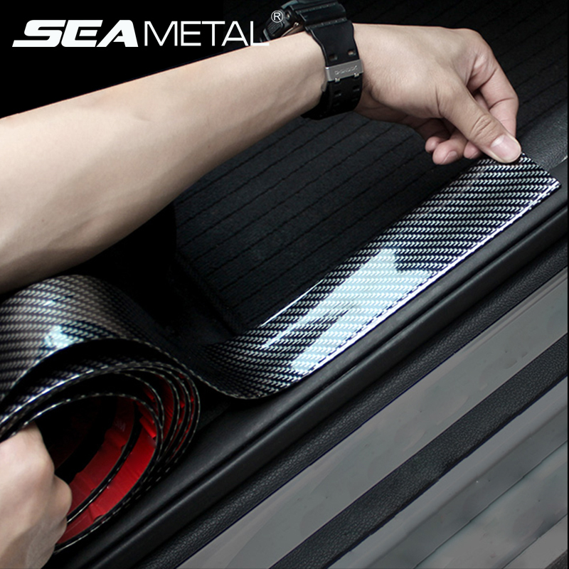 Protetor de Porta do carro De Fibra De Carbono Adesivos De Carro De Borracha 5D Zero À Prova de Auto Produtos de Proteção Soleira Da Porta Tira de Moldagem Estilo Do Carro