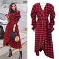 2017 Early Spring Women's Fashion Dress European and American V-neck Irregular Check with Thin Waist Dress