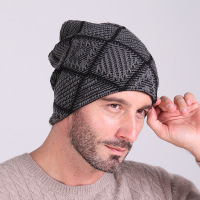 Newly Design Warm Knitted Cap Beanies With Velvet For Men Print Pattern Winter Warmer Ear Hat