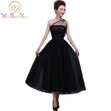 100% Real Image In Stock Formal Little Black Dresses Tea Length Dress Party Dot Tulle One-Shoulder Neckline A-line Evening