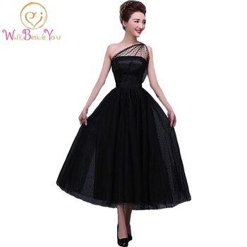 100% Real Image In Stock Formal Little Black Dresses Tea Length Dress Party Dot Tulle One-Shoulder Neckline A-line Evening Dress