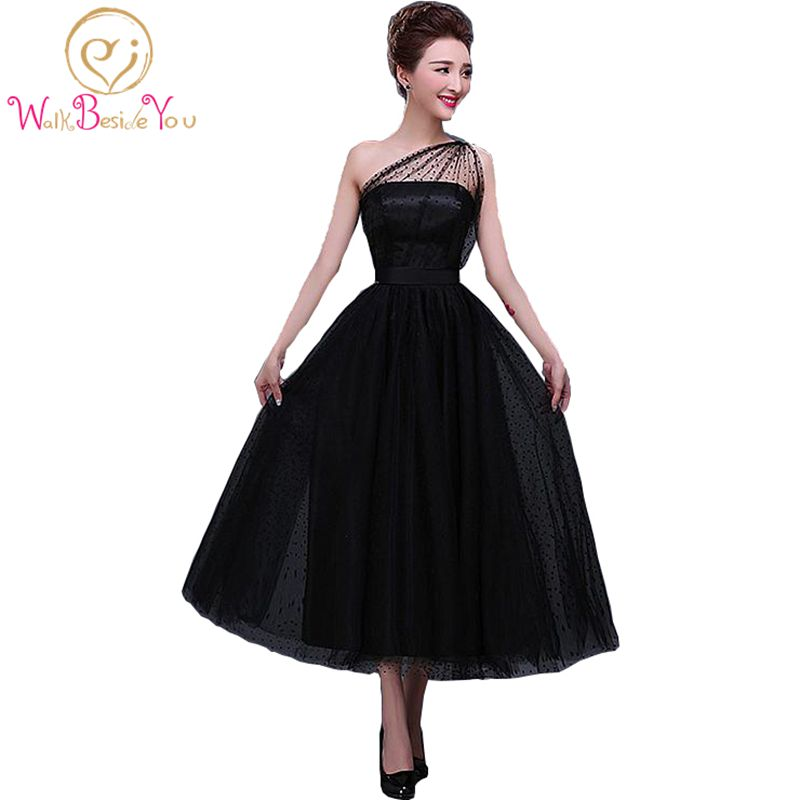 100% Real Image In Stock Formal Little Black   Dresses   Tea Length   Dress   Party Dot Tulle One-Shoulder Neckline A-line   Evening     Dress