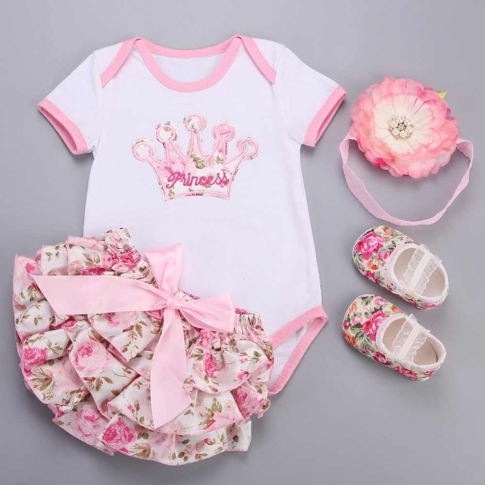 Big Flower Headband Crown Floral Baby Girl Clothes Short Dress Shoes 4 PCS Set;Unicorn Newborn Baby Costume Ensemble Bebe Fille