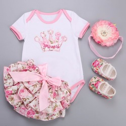 Grande flor bandana coroa floral roupas da menina do bebê sapatos de vestido curto 4 pçs conjunto; unicórnio traje do bebê recém-nascido conjunto bebe fille