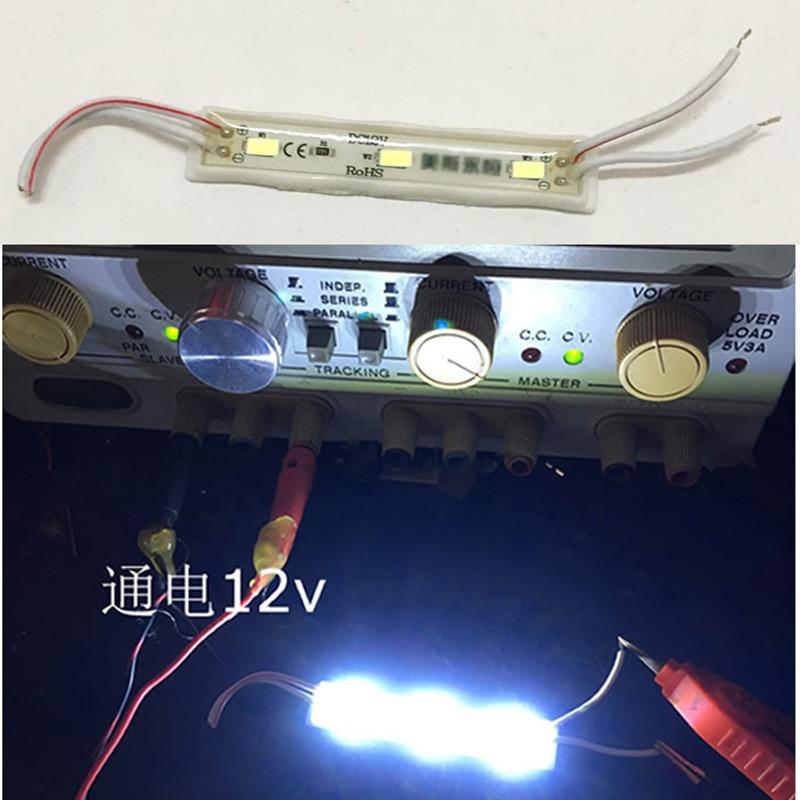 5 Pièces Blanc Haute Luminosité Dc 12 V Smd A Mené La Petite Lampe Lumière Perle 3 Leds Bande Pour Châssis D'ordinateur Boîte à Lumière Décoration De Voiture Bricolage