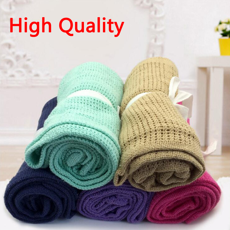 Knitting Wool Cotton Baby Blankets For Newborn Swaddle Wrap Baby Bedding Soft Breathable 13 Candy Colors Summer New Style 2017