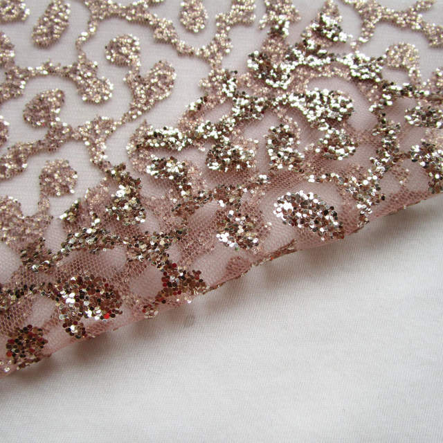 placeholder 3 yards french art rose gold lace glitter net fabric sequins  shining prom dress mesh fabric dd529160bd69