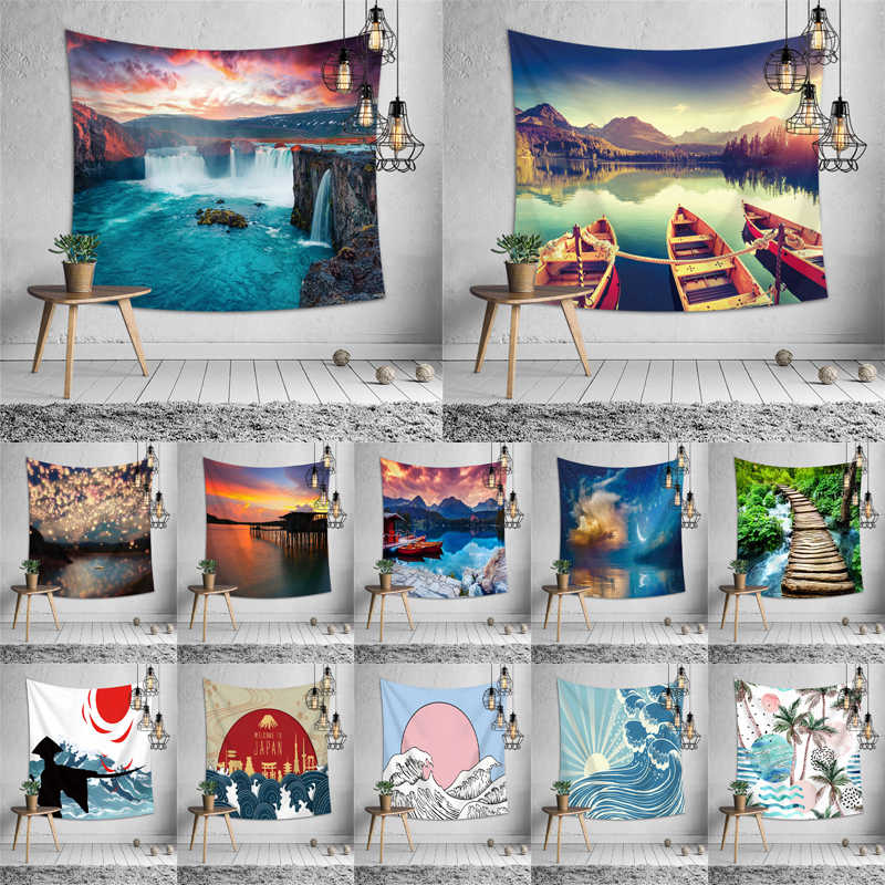 3d waterfall landscape wall hanging tapestry bedspread bedroom for apartment interior tapestry japan beach picnic camping mat