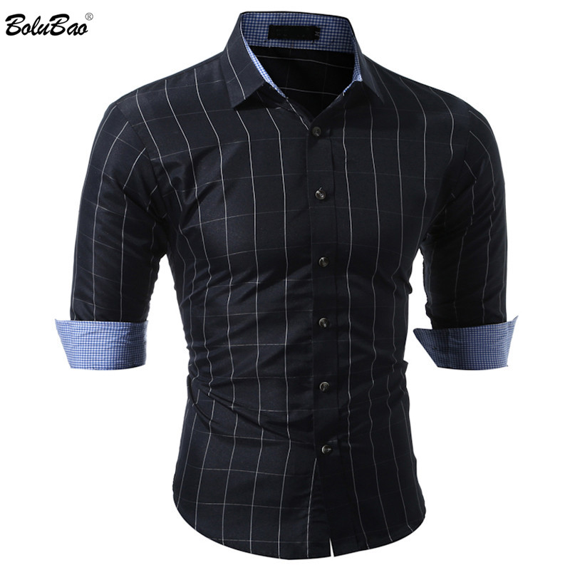 BOLUBAO New Men Casual Shirt Fashion Plaid Long Sleeve Tuxedo Men Shirt Plaid Shirts Male Brand-Clothing
