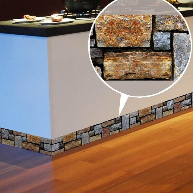 5 Meters Living Room Baseboar Waterproof Wall Borders Sticker Tile Wallpaper Pvc Self Adhesive