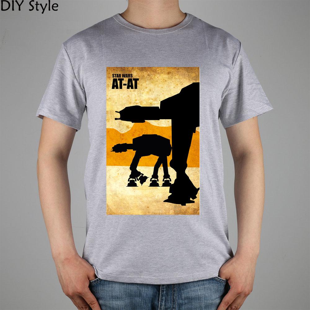 8337a55c25 STAR WARS filme SILHUETA AT-AT câmera top lycra de algodão T-shirt Moda  Marca t shirt dos homens novos de alta qualidade