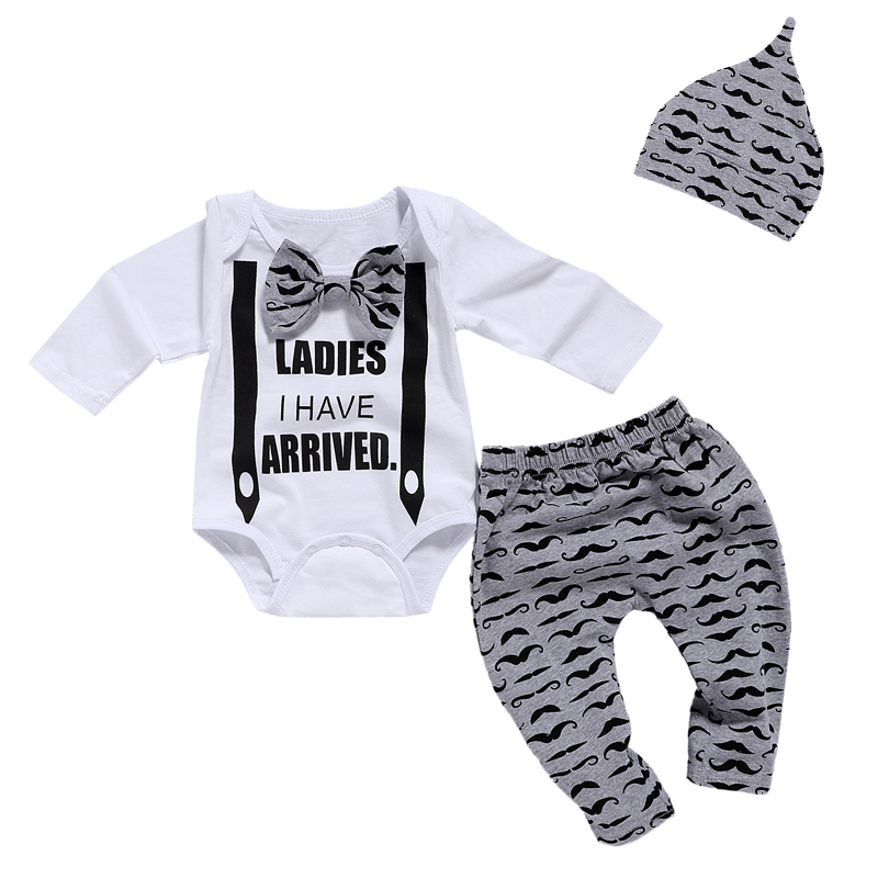 Baby Boy  Bow Tie Bodysuits+Mustache Print Pant+Hat