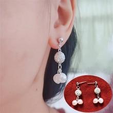 2019 new Pearl Earrings silver colors crystal ball Tassels Pearl Jewelry Earrings fashion Jewelry For Woman fuzzy ball faux pearl chain earrings
