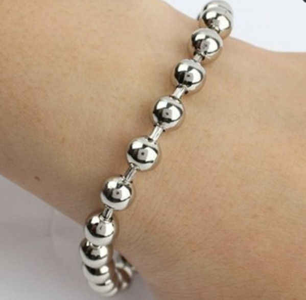 "7.87""*6mm Cool Silver Ball Beads Chain 316L Stainless Steel Men Bracelet Bangle, Loss Price For Hot Sale!"
