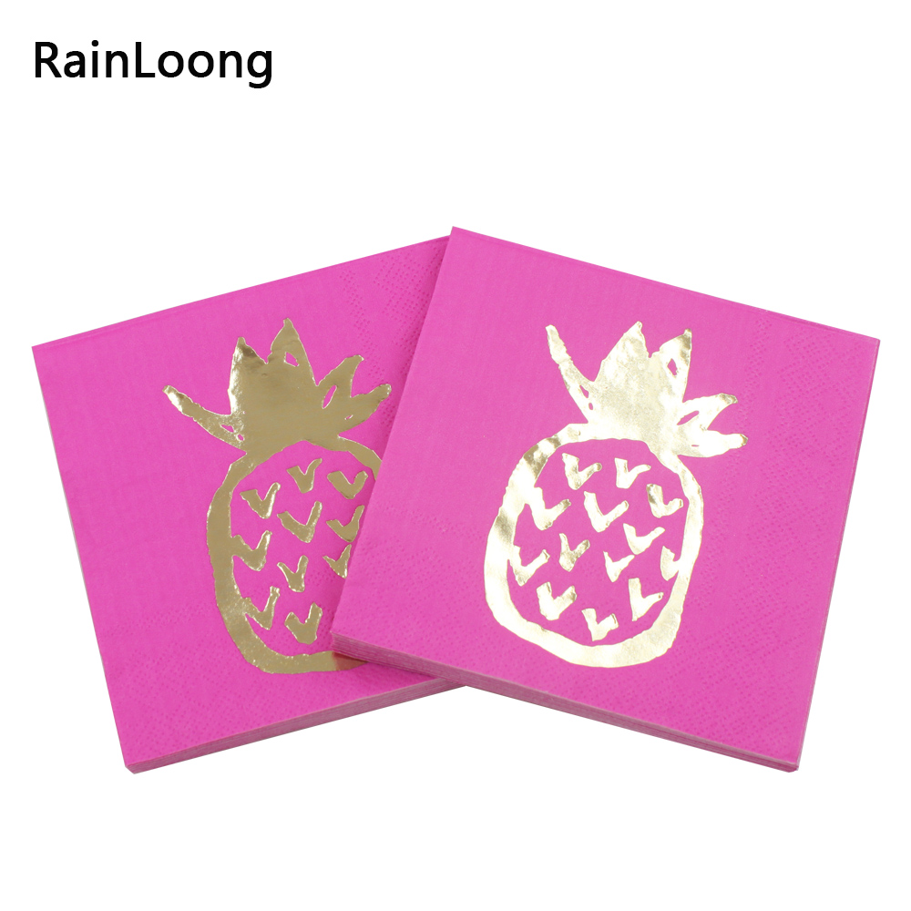 [RainLoong] 3-Plys Foil Gold Beverage Paper Napkin Pineapple Hot Pink For Party Decoration Supply Tissue Serviettes 25*25cm