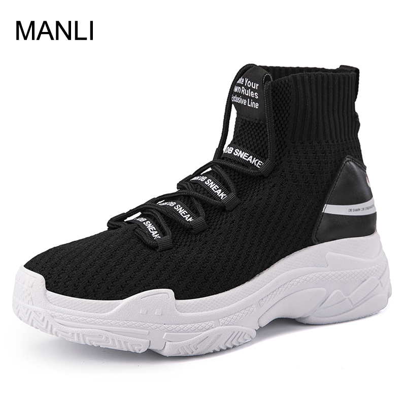 MANLI Shark Sneakers Women Men Knit Upper Breathable Sport Shoes Chunky Shoes High Top Running Shoes
