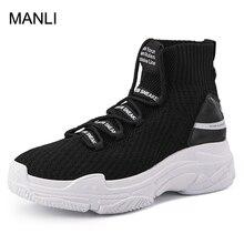 MANLI акулы кроссовки Для женщин Для мужчин вязать дышащая Спортивная обувь коренастый обувь высокие кроссовки для Для мужчин Для женщин большой размер 47