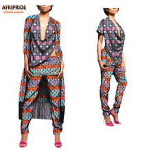 ФОТО 2018 african autumn 3-pieces suit for women afripride mid-calf length tassel coat+deep v-neck top+ankle-length pants a722670