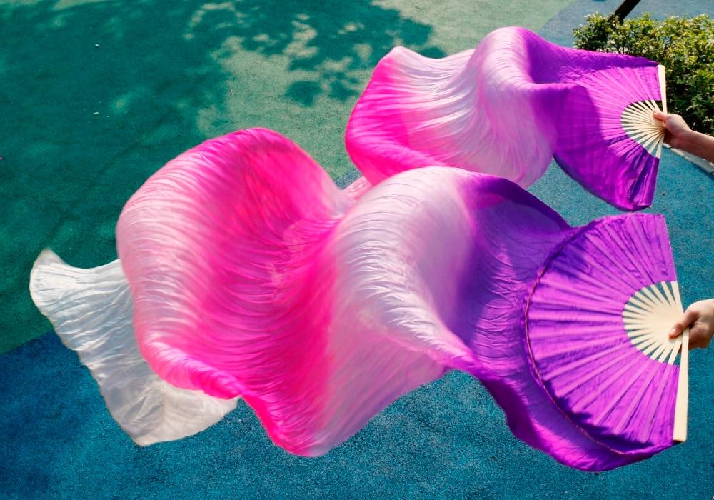 2016 High quality silk woman selling belly dance fan dance 100% real silk veil 1 pair Purple+light purple+Rose+pink+white