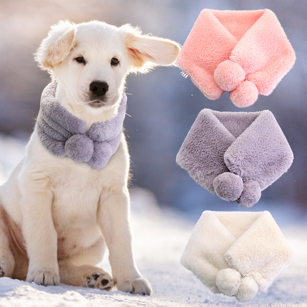 Soft Warm Dog Scraf Dog Accessories Winter Pet Neckerchief Scarves For Medium Large Dogs Pet Products With Cute Balls 12
