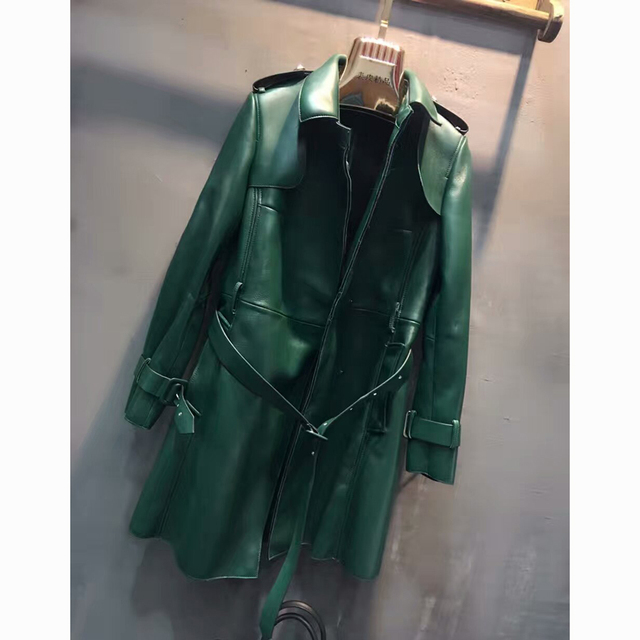 Autumn Winter Genuine Leather Women Trench Real Sheepskin Leather Long Coat Elegant Casual Outwear Female Leather Trench