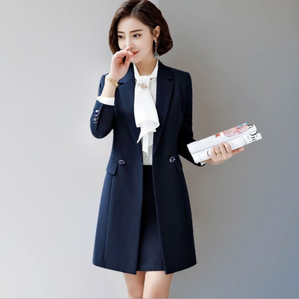 Office Ladies Work Wear Skirt Suit with Double Breasted Long Blazer and Mini Skirt Black Blue Red Women Skirts Suit 2 Pieces Set