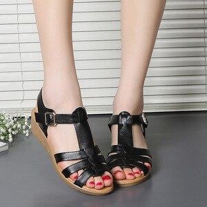 Image 5 - GKTINOO 新夏の古典的な革ウェッジサンダルの女性グラディエーターサンダル女性プラットフォーム靴 Sandalias Mujer