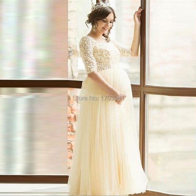 Yellow Pregnant Plus Size Evening Dress Sequin Robe Dubai Formal