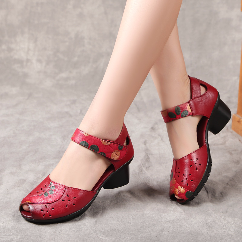 все цены на charply sandals female rough with breathable hollow fish mouth folk style leather shoes handmade shoes women high heel sandals