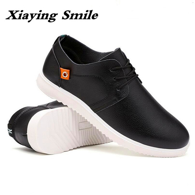96a2018e4a26 New Spring and Autumn New Fashion Men s Leather Vamp Lace up Casual Shoes  Soft Sole Comfortable Men Shoes Black Shoes