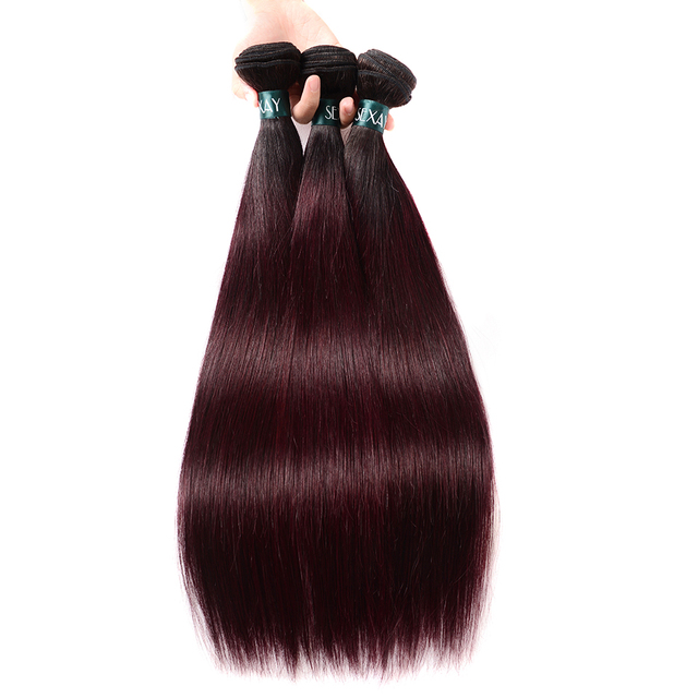Dark Wine Red Hair Straight Bundles