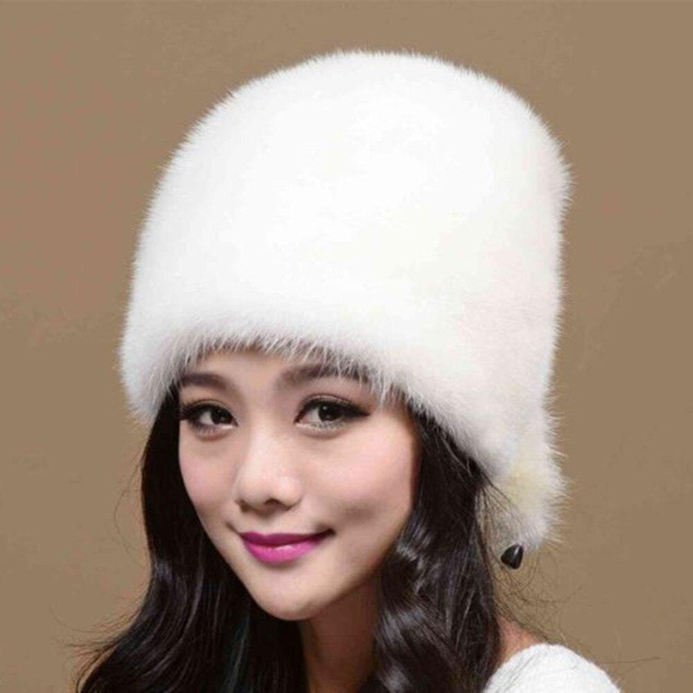 Новая теплая меховая шапка женская Норковая Рождественская шапка норковая меховая шапка женская зимняя 2016 Новая повседневная шапка с ушка