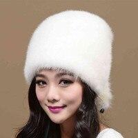 Nuovo caldo cappelli di pelliccia di visone femmina Di Natale Cappelli di pelliccia di Visone cappello cappello di Inverno della signora 2016 nuovo Casuale protezione Dell'orecchio di trasporto libero