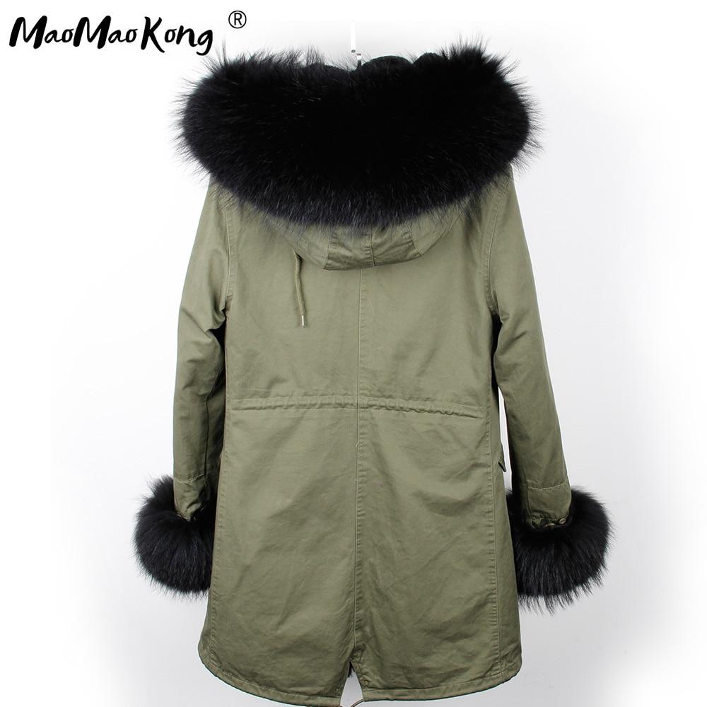 Image 2 - abrigos mujer invierno 2018 mini True Fur Parka women winter  Hooded jacket coat Parkas faux fur coat Lining jacket long coatParkas