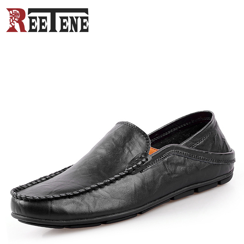 REETENE Big Size 45 46 Summer Genuine Leather Shoes Men Casual Moccasins Mens Slip-On Loafers Breathable Driving Black Shoes big size 46 summer breathable mesh loafers men casual shoes genuine leather slip on brand fashion flat shoes soft comfort cool
