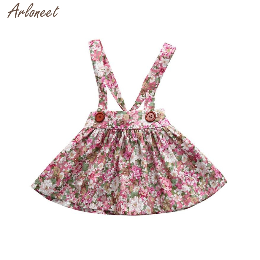 2018 newborn baby dresses for girls Print Straps Backless Dress Overall Outfits Clothes Dress FEB2