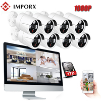 IMPORX 1080P NVR Kit 8CH Camera 2MP Wireless CCTV System Security Camera With 10 1 LCD