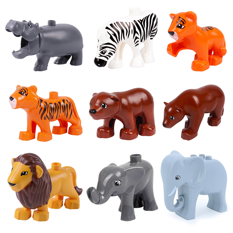 Big Building Blocks Zoo Animals Model Accessory Bricks Bear Elephant Lion Tiger Compatible With Duplo Toys For Children Kid Gift
