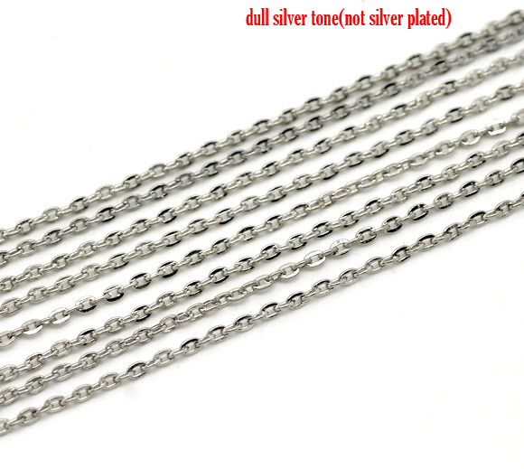 Doreen Box Lovely Silver Tone Links-Opened Cable Chains Findings 3x2mm, sold per lot of 10M (B15316) цена и фото