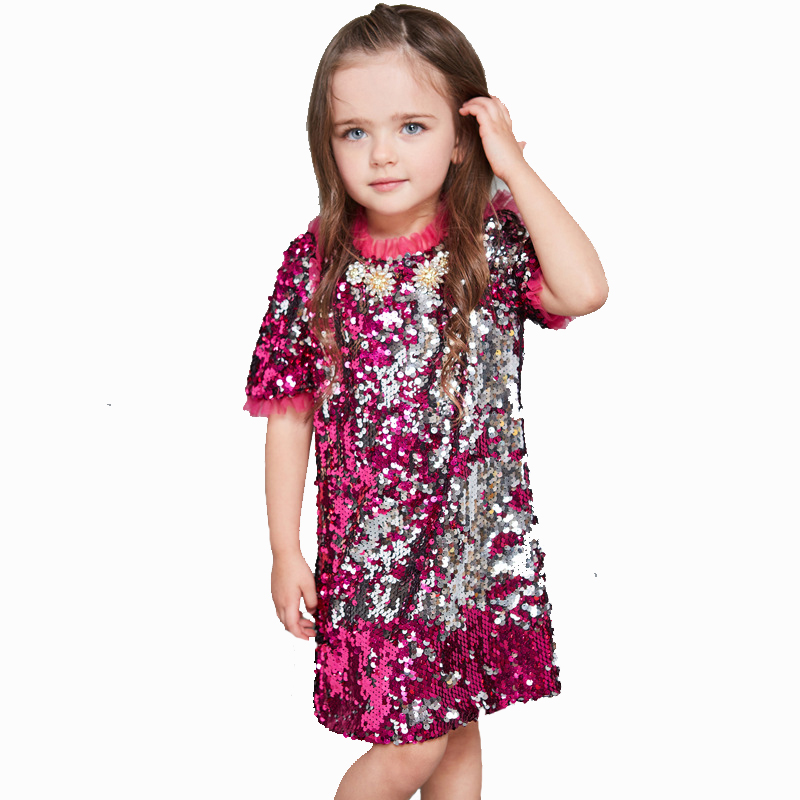 DOMEYA 2017 Fashion girls Sarafan shining dress Children clothing kids Rose red sequins Short sleeve Beading dress for baby girl hot sale halter beading sequins short homecoming dress