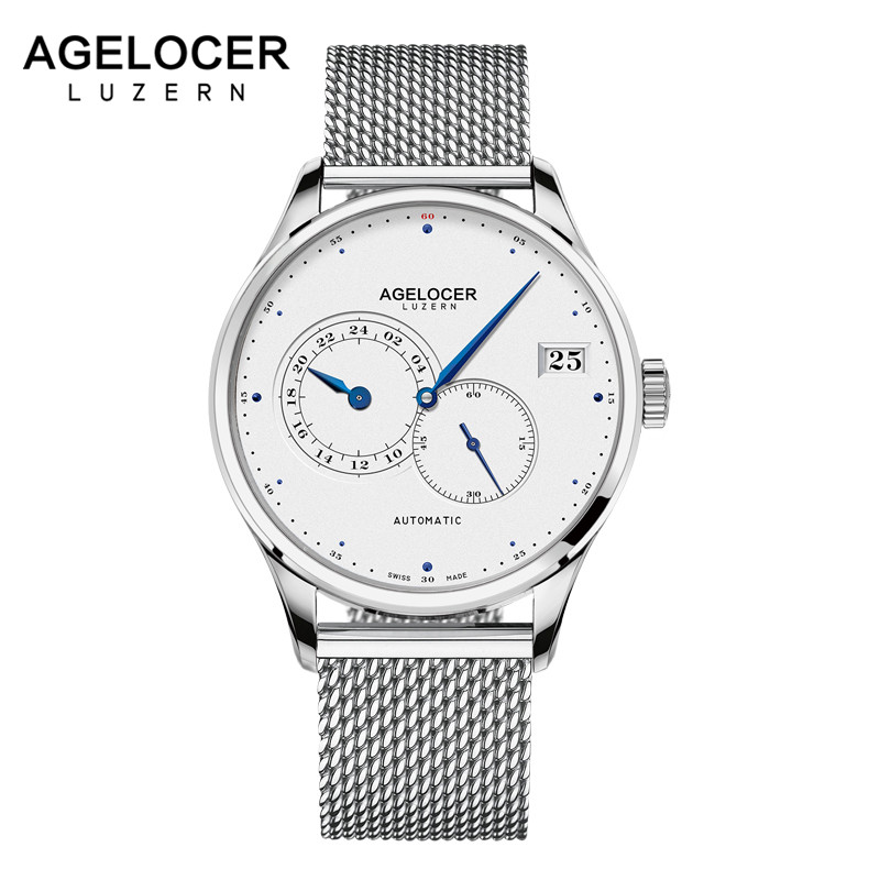 AGELOCER Swiss New Top Luxury Watch Men Brand Mens Watches Stainless Steel Mesh Band Automatic Wristwatch Fashion Casual Watches