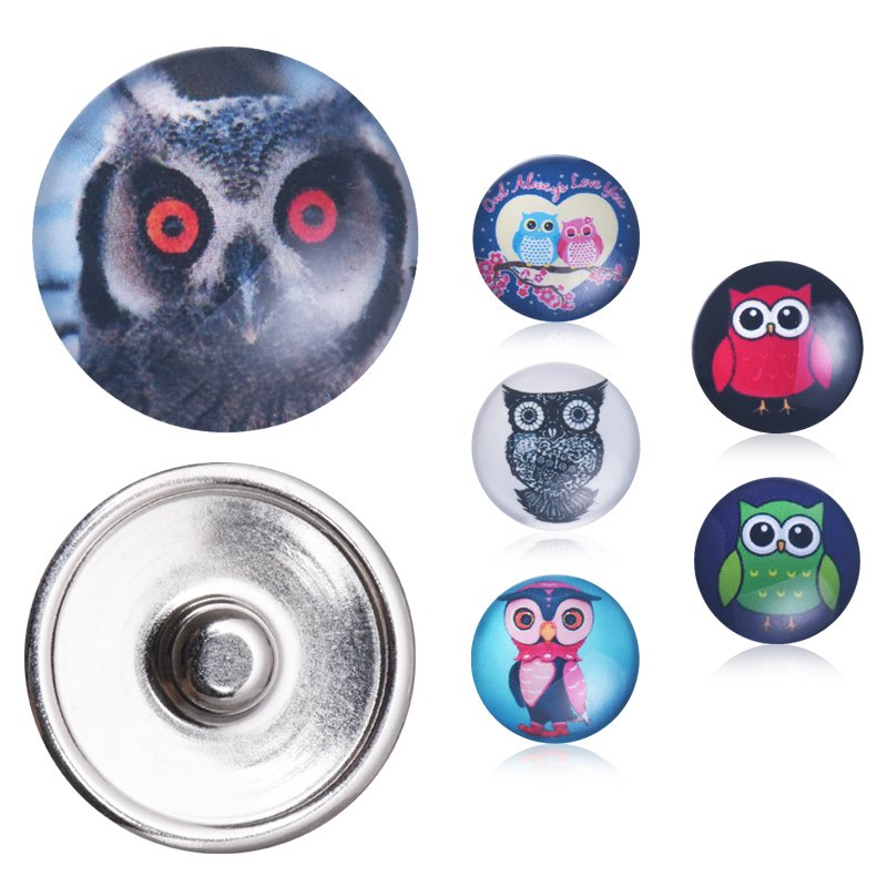 Lovely Owls Birds Snap Buttons Random Colors 10pcs/lot New Round Glass 18mm Jewelry DIY Necklaces Bangles Snap Buttons image