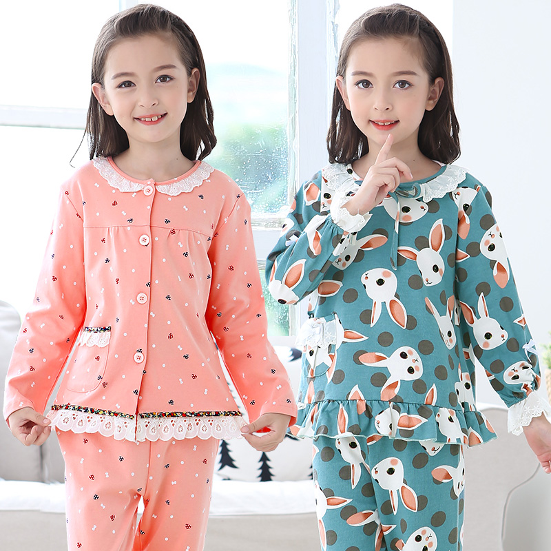Cute Girls Pajamas Sets Kids Long Sleeve Character Girl Sleepwear Cotton Casual Children Sleepwear Pajamas For Girls Kids lovely spring pure cotton thomas and friends children clothing long sleeve tops pants for 2 7 years boy kids pajamas sleepwear