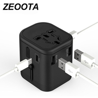 Zeoota Travel Adaptor Multi Plug 2 Fuse Protect Universal Adapter Universal Travel Charger with Type C and 3 USB Charging Ports
