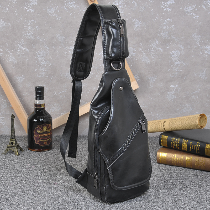 New Spring leather Chest Bag Men Vintage Waist Pack Male Casual ...