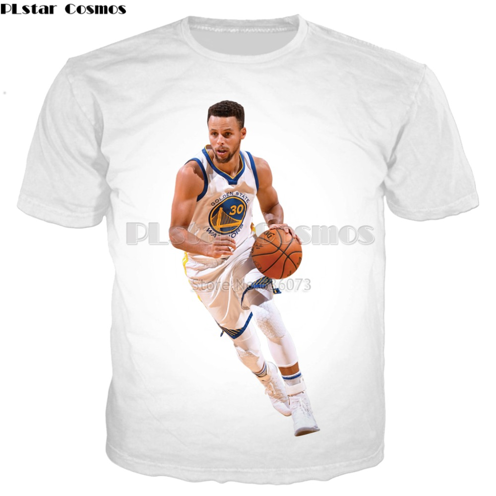 PLstar Cosmos Stephen Curry White style T-shirt 2018 summer Fashion T-shirt Celebrities 3D Print Mens Women Casual Cool t shirts