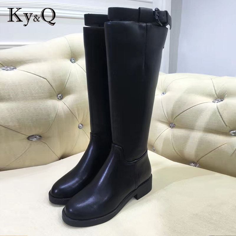 купить 2018 New size 34-40 knee high boots genuine leather women fashion long boot winter footwear shoes sexy winter motorcycle brands по цене 4657.83 рублей